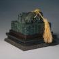 "清 碧玉交龙纽""太上皇帝之宝"" Sceau impériel de forme carrée en jade surmonté de deux dragons croisés - trésor de l'Empereur Retité, dynastie Qing"