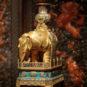 清 皇帝临朝的器物陈设 掐丝珐琅太平有象 Vase en émail cloisonné - éléphant, symoble de la paix et de la tranquillité, dynastie Qing