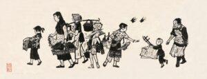 8- 张漾兮 送饭到田间 木刻版画 浙江美术馆藏 Zhang Yangxi, Apporter la nourriture aux champs, estampe sur bois, fonds du Musée des beaux-arts du Zhejiang
