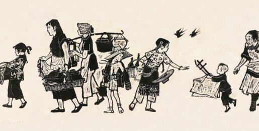 8、张漾兮 送饭到田间 木刻版画 浙江美术馆藏Delivering Meal to the Farm, Woodcut Print by ZHANG Yangxi